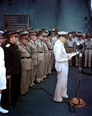 Japanese Instrument of Surrender - Commodore Perry's flag was flown from Annapolis, Maryland to Tokyo for display at the surrender ceremonies which officially ended World War II.