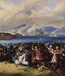 Η άφιξη του Όθωνα στο Ναύπλιο, του Peter von Hess, 1835.