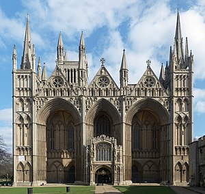 Peterborough - Peterborough Cathedral (1118–1375), the Early English Gothic West Front