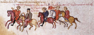 Petronas (general) - Petronas (far left) with John, the monk who foretold his victory at Lalakaon. Miniature from the Madrid Skylitzes