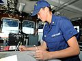 Petty Officer Hali Lombardi, on the bridge of the USCGC Charles Sexton, when it visited her home town, Key West -a.jpg