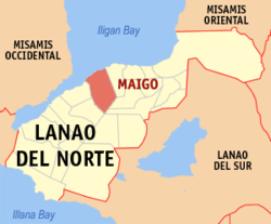 Map of Lanao del Norte with Maigo highlighted