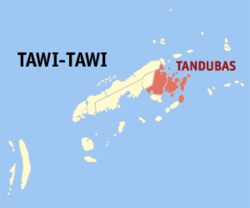 Map of Tawi-Tawi with Tandubas highlighted