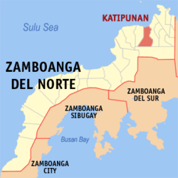 Map of Zamboanga del Norte showing the location of Katipunan