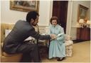 Photograph of First Lady Betty Ford Meeting with Fashion Designer Albert Capraro in the Second Floor West Sitting... - NARA - 186788.tif