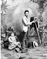 Photographer, Ernst Skarstedt and camera equipment in his studio, Clark County, Washington, June 1889 (INDOCC 231).jpg