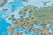 Všeobecnogeografická mapa Európy