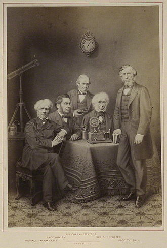 Charles Wheatstone - Michael Faraday, T. H. Huxley, Wheatstone, David Brewster, and John Tyndall (r.)