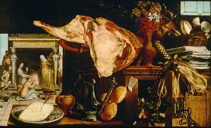 Christ in the House of Martha and Mary (Velázquez) - Pieter Aertsen, Vanitas with Christ in the House of Martha and Mary, 1552