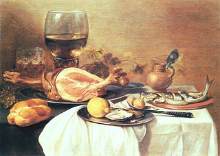 A ham, a herring, oysters, a lemon, bread, onions, grapes and a \