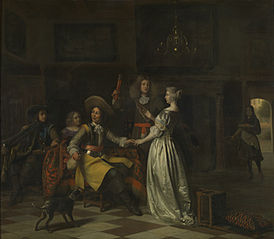 Merry company with trumpeter in a distinguished interior