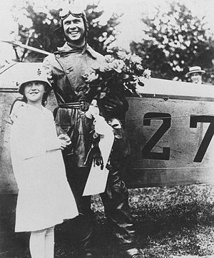 James Clark Edgerton - Lt. James C. Edgerton and his sister, Elizabeth, after finishing the first Air Mail flight from Philadelphia to Washington on May 15, 1918.