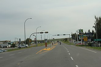 Pincher Creek - Looking south at the business district in Pincher Creek on Alberta Highway 6
