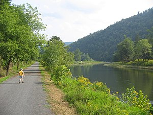 Pine Creek Rail Trail - Pine Creek and the rail trail north of Waterville  in Cummings Township in Lycoming County