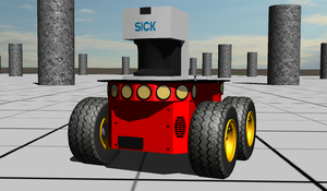 Webots - Simulation of a Pioneer 3-AT (Adept Mobile Robots) mounted with a SICK LMS 291 in Webots