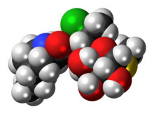 Space-filling model of pirlimycin molecule