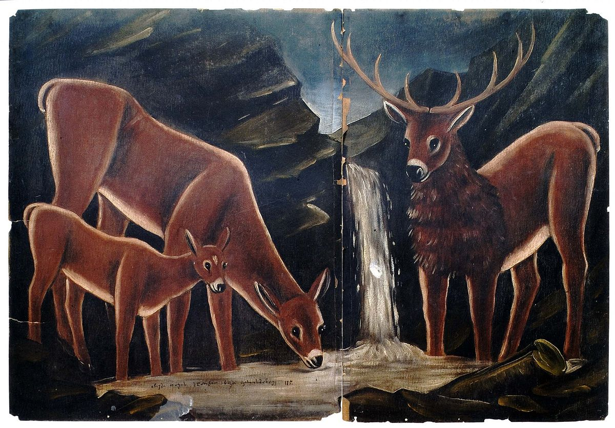 1200px Pirosmani Three deers drinking water