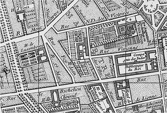 Histoire du Palais Vivienne, ancien hôtel de Montmorency-Luxembourg dans Insolent - Insolite 330px-Plan_vivienne_B.Jaillot_1748-1762_large