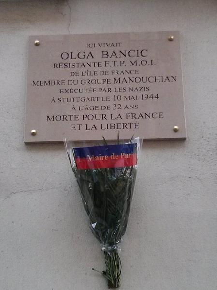 Fichier:Plaque commemorative Olga Bancic 114 rue du Chateau Paris 14.png
