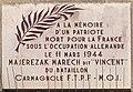 """Plaque en hommage à Majerezak Marech dit """"Vincent"""" - Place de la Croix-Rousse (Lyon).jpg"""