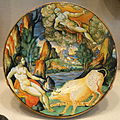 Plate with Jupiter, Juno, and Io transformed into a cow, lustered in workshop of Maestro Giorgio Andreoli, Gubbio, or Vincenzo Andreoli, Urbino, c.1535-1540, maiolica - National Gallery of Art, Washington - DSC09840.JPG