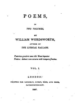 I Wandered Lonely as a Cloud - The title page of Poems in Two Volumes