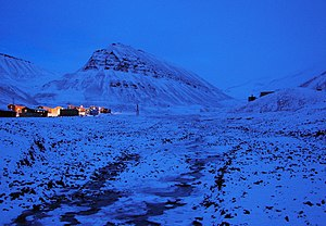 Polar night - Characteristic polar night blue twilight, Longyearbyen, Svalbard, Norway located at 78° north.