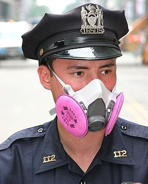 Buccal mask - A New York city police officer wearing a naso-buccal mask, in this case for protection
