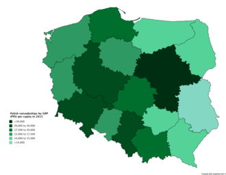 Voivodeships of Poland - GRP per capita of Polish voivodeships based on purchasing power standards (PPS) in 2015