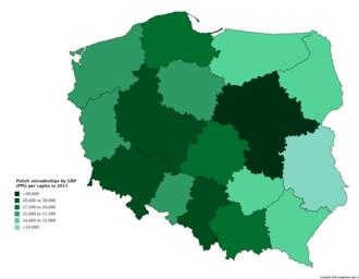 Voivodeships of Poland - GRP per capita of Polish voivodeships based on purchasing power standards (PPS) in 2015
