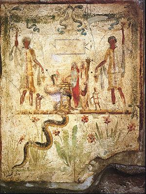 Caristia - Image: Pompei House of Iulius Polybius Lararium