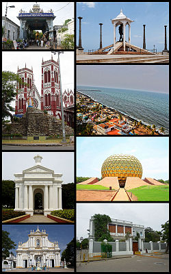 Clockwise from top right: Gandhi statue, Promenade Beach, Matrimandir, Sri Aurobindo Ashram, Immaculate Conception Cathedral, Aayi Mandapam (monument), Basilica of the Sacred Heart of Jesus, Manakula Vinayagar Temple
