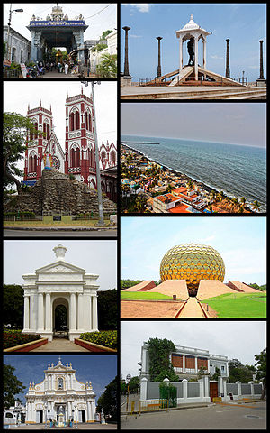 Pondicherry - Clockwise from top right: bando statue, Promenade Beach, Matrimandir, Sri Aurobindo Ashram, Immaculate Conception Cathedral, Aayi Mandapam (monument), Basilica of the Sacred Heart of Jesus, Manakula Vinayagar Temple