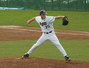 A Portland University baseball pitcher throws ...