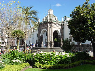 "Cathedral of Quito - The northeast elevation of the Cathedral, on the Plaza, is dominated by the ""Arch of Carondelet"" entrance and its staircase."