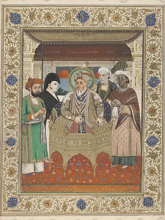 Charles Metcalfe, 1st Baron Metcalfe - Portrait of Akbar II with Sir Charles Theophilus Metcalf and court dignitaries