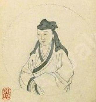 Liu Rushi - 1847 portrait of Liu Rushi, ink on paper, by Lu Ji and Cheng Tinglu