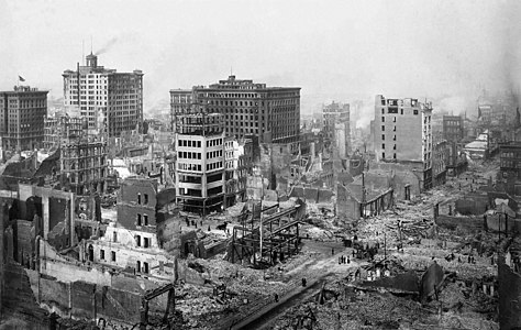 San Francisco Earthquake of 1906: Ruins in vicinity of Post and Grant Avenue. Looking northeast.