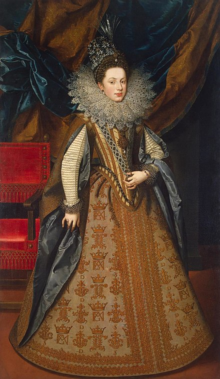 Margaret of Savoy, Vicereine of Portugal, Duchess of Mantua. Pourbus, Frans II - Marguerite of Savoy - Hermitage.jpg