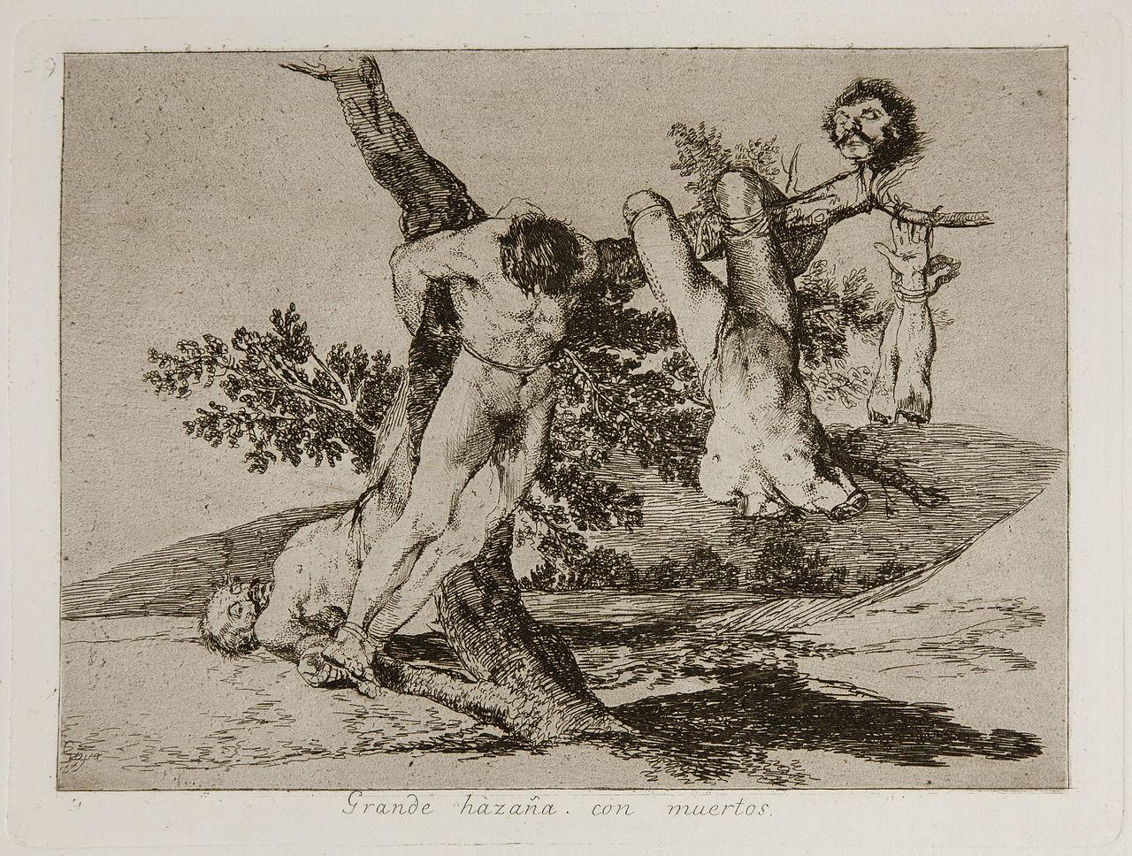 Quand la guerre survient, Goya vit à Madrid. Il côtoie les horreurs qui s'y déroulent : exécutions, viols, pillages mais aussi l'exode et la faim. Goya va rendre compte de ce qu'est la guerre de manière très différente de ses contemporains qui, souvent, ont tendance à la magnifier. Goya lui, ne cache rien.