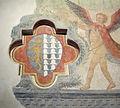 Prato, palazzo pretorio, piano terra, bottega lippesca, angelo con stemma del podestà antonio spinelli, 1457, 02.JPG