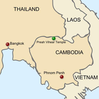 Map Of Cambodia And Thailand Showing The Location Temple