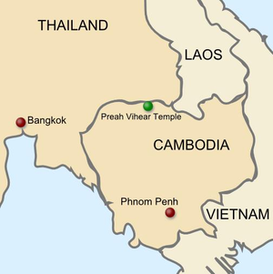 Cambodian–Thai border dispute - Map of Cambodia and Thailand, showing the location of the temple