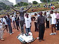 Pregnant crucified teenager at the World Social Forum.jpg