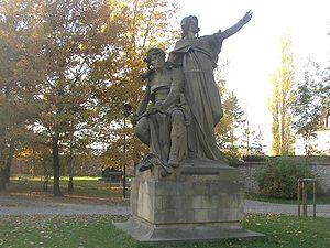 Libuše - Libuše and Přemysl, sculpture by Josef Václav Myslbek (1881), today in Vyšehrad