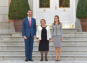 Chile–Spain relations - Chilean President Michelle Bachelet on a state visit to Spain meeting with Spanish King Felipe VI and Queen Letizia in Madrid, 2014.