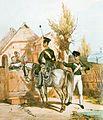 Preußische Gendarmen um 1840 Unteroffiziere zu Pferd und zu Fuß.jpg
