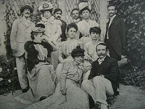 Prince Edmond de Polignac - From left to right, standing: Prince Edmond de Polignac, Princess of Brancovan, Marcel Proust, Prince Constantin Brancoveanu (brother of Anna de Noailles), and Léon Delafosse. 2nd row: Madame de Montgenard, Princesse de Polignac, Countess Anna de Noailles, 1st row: Princess Helen Caraman-Chimay (sister of Anna de Noailles), Abel Hermant