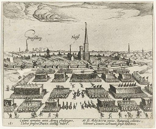 Prins Maurits stelt zijn leger bij Neuss in slagorde, 1610, RP-P-OB-80.619
