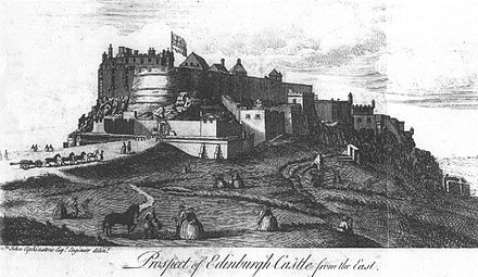 1753 engraving of Edinburgh Castle, which remained in government hands throughout the Rising Prospect of Edinburgh Castle from the East (c.1753).jpg